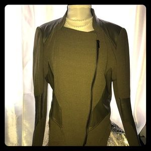 Moto style jacket; Olive Green sz L leather detail